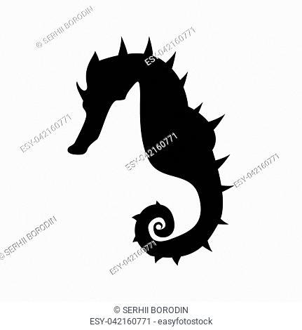 Seahorse it is black color icon