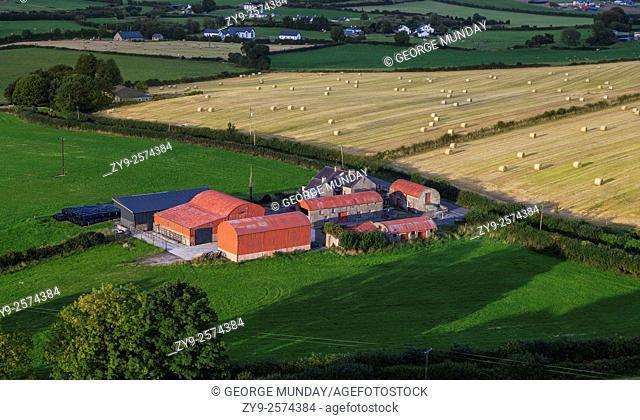 Farmland viewed from Dunamase (or Dunamace) Castle near Portlaois,. County Laois, Ireland