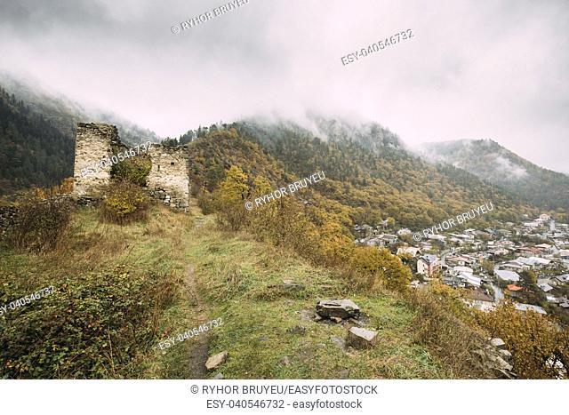 Borjomi, Samtskhe-Javakheti, Georgia. Famous Local Landmark Is Gogia Fortress And Cityscape Of Resort City In Autumn October Day