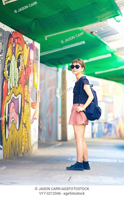 Asian Female model poses for pictures in Bangkok, Thailand
