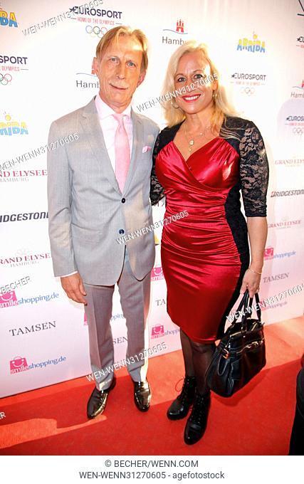 Deutscher Sportjournalistenpreis 2017 at Hotel Elysee Featuring: Christoph Daum mit Ehefrau Angelica Camm-Daum Where: Hamburg