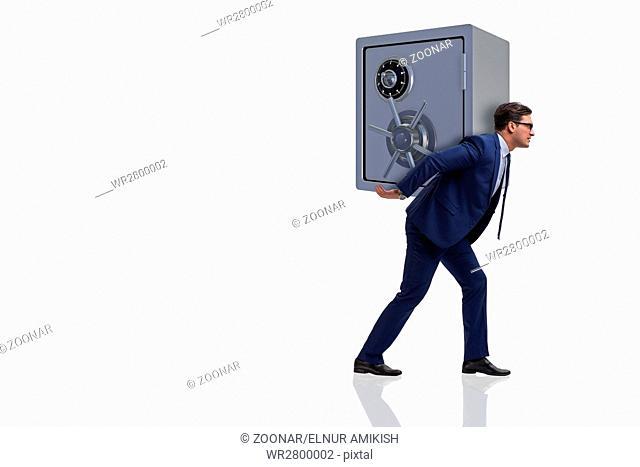 BUsinessman stealing metal safe from bank