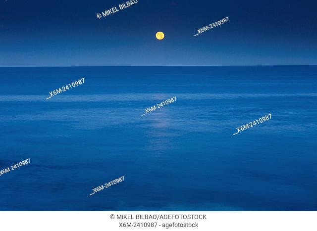 Moon and sea horizon. Lanzarote, Canary islands, Spain, Europe