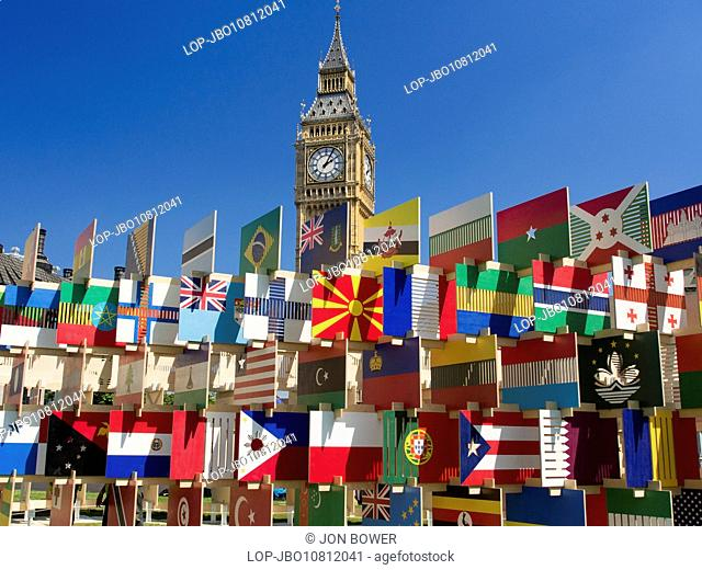 Flags of all nations in Parliament Square