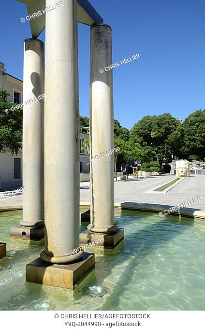 Fountains on Place d'Assas Nimes France