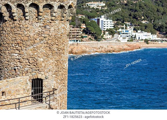 tossa de mar,catalonia,spain ancient tower with mediterranean