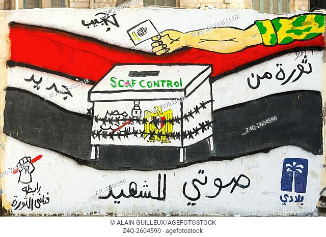 Egypt, Cairo, graffiti of the Egyptian revolution nearby Mohamed Mahmoud Street. It says elections are totally under the control of the army