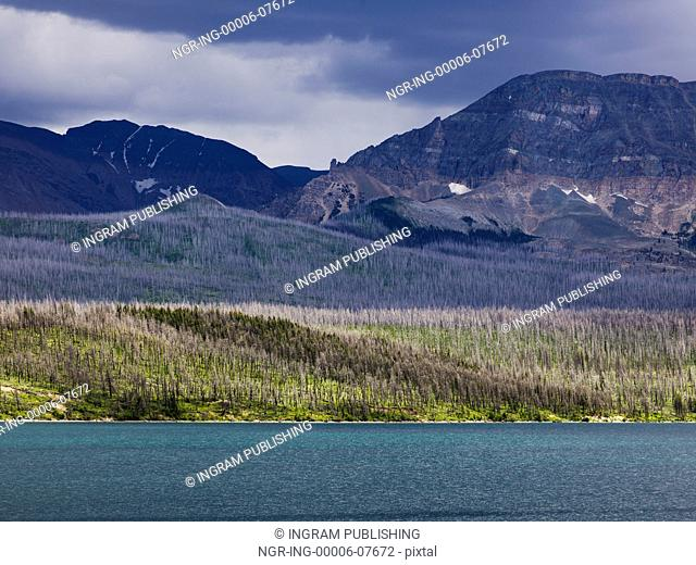 Lake with mountain range in the background, Saint Mary Lake, Glacier National Park, Glacier County, Montana, USA