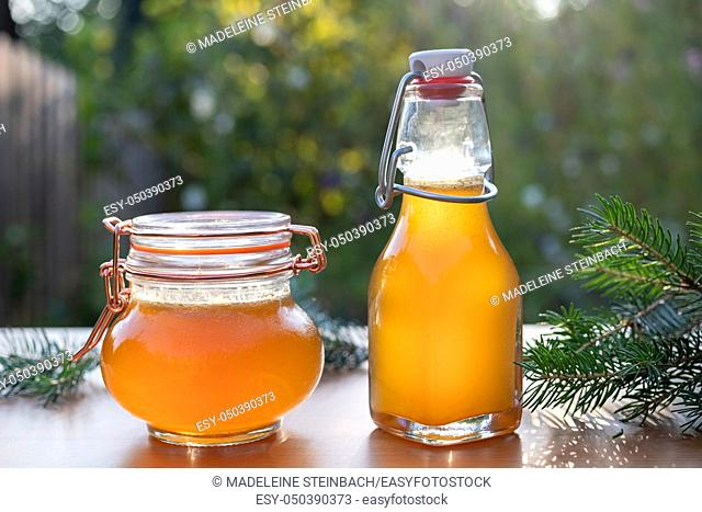 A bottle and a jar of homemade herbal syrup against cough made from young spruce tips, photographed in a garden
