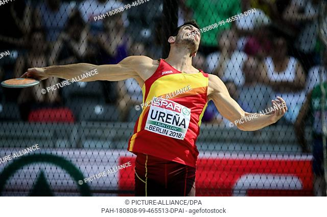 08.08.2018, Berlin: Track and Field: European Championship, Decathlon; Men: Jorge Urena from Spain at the discus. Photo: Michael Kappeler/dpa