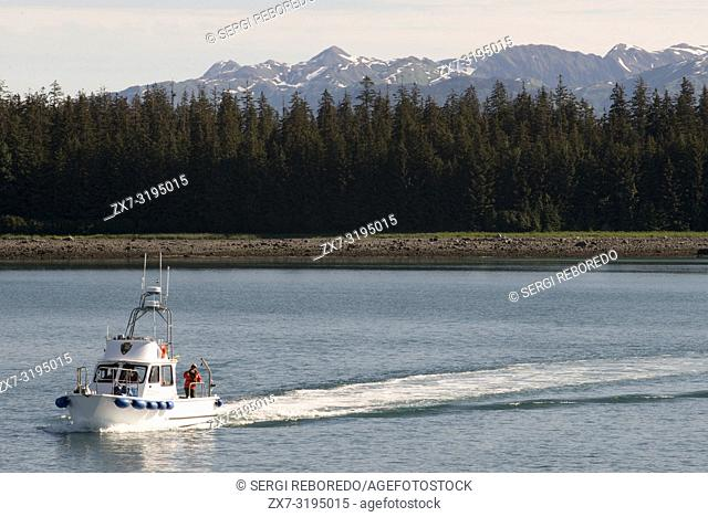 National Park Service boat. Bartlett Cove, Glacier Bay National Park, Alaska. Here, just 200 years ago stood the snout of a 100-mile long glacier