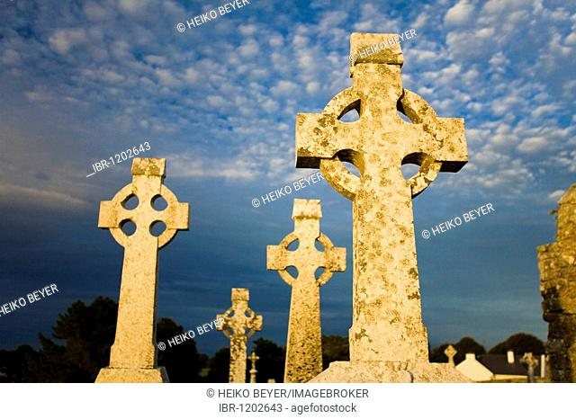 High crosses in the evening light in the monastery of Clonmacnoise, County Offaly, Leinster, Ireland, Europe