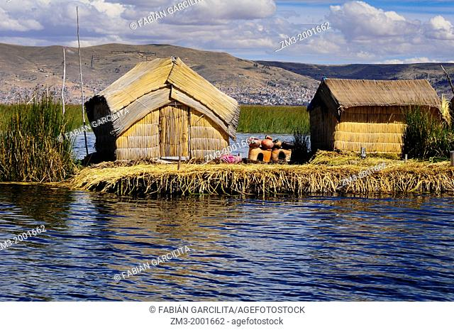 A house made of plants in the floating islands of the Uros, in Peru