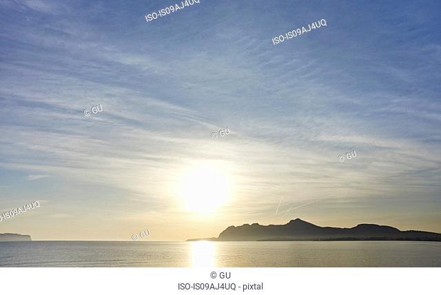 Sun shining over sea, Alcudia, Majorca, Spain