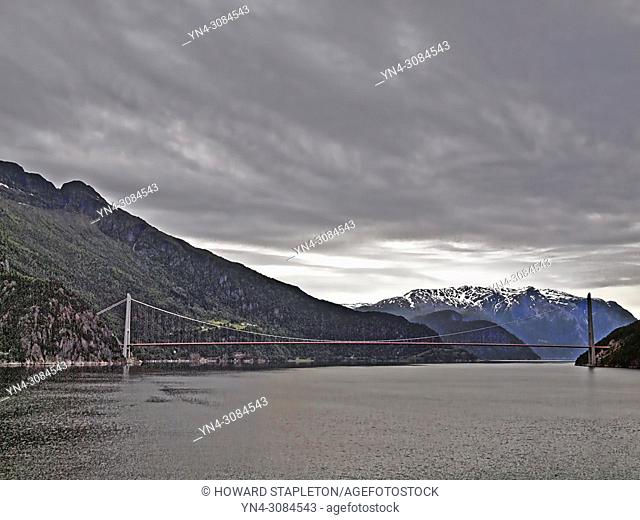 The Hardanger Bridge across the Eid Fjord (a branch of the larger Hardangerfjord), Norway from a cruise ship