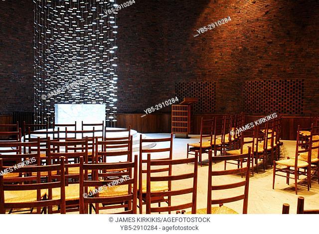 Interior of the Kresge Chapel designed by Eero Saarinen, on the Campus of MIT