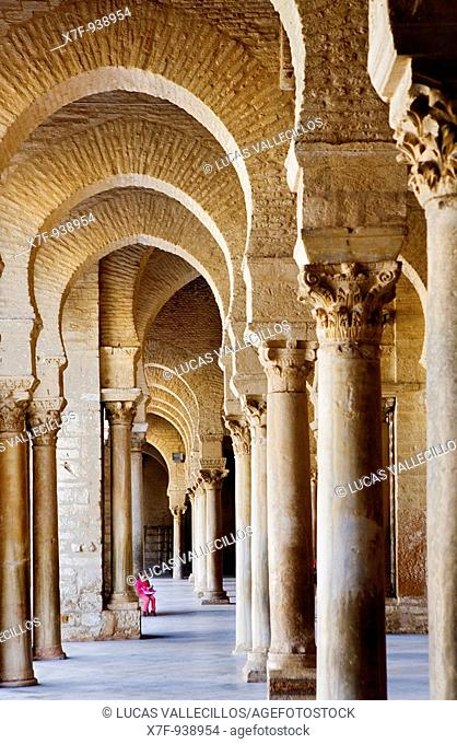Tunez: Kairouan The Great Mosque columns that surround the courtyard  Mosque Founded by Sidi Uqba in the VIth century is the most ancient place of prayer in...
