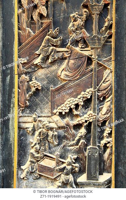 China, Yunnan, Jianshui, carved door detail