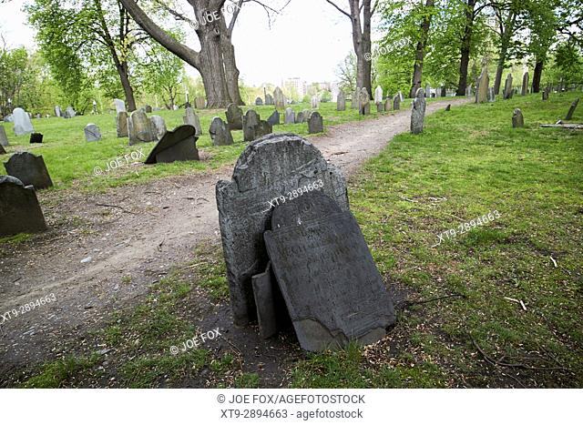 old slate headstones in central burying ground cemetery Boston USA