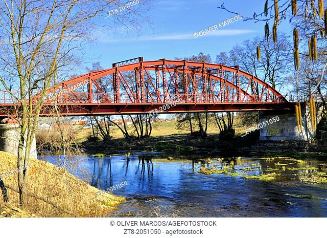 Iron bridge in winter; Queen's Bridge was built in the early twentieth century on the outskirts of La Bañeza, Leon province, Castilla-Leon, Spain