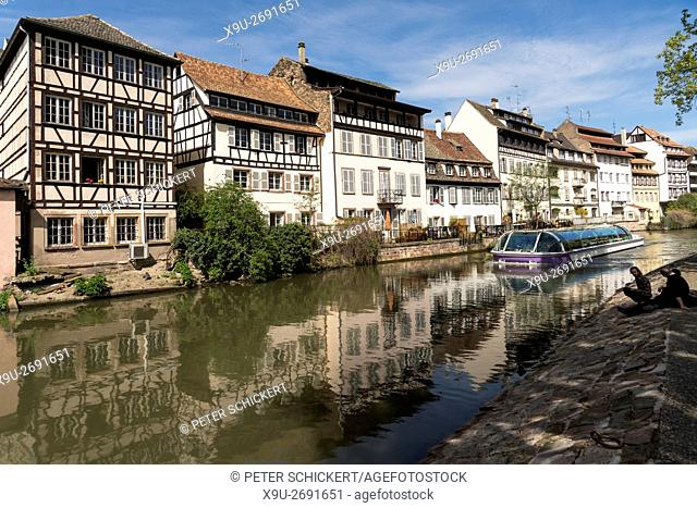 timber-framed homes of the Historic quarter La Petite France, Strasbourg, Alsace, France