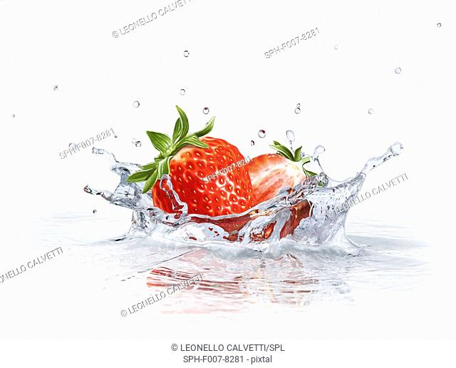Strawberries splashing into water, computer artwork
