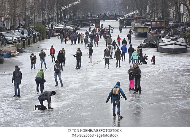 Ice skating on the Amsterdam canals. The last time the canals were frozen was in Feb 2015
