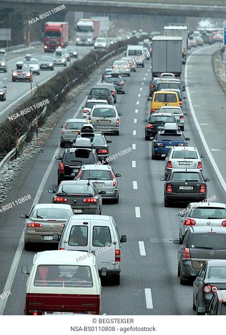 traffic jam on highway, Austria