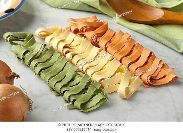 Traditional festive Italian Pasta tricocolore