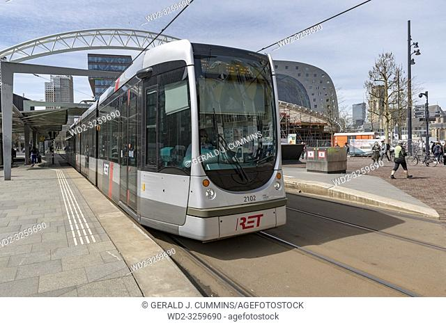 Netherlands, Rotterdam, 2017, Tramway system the RET in a city center station