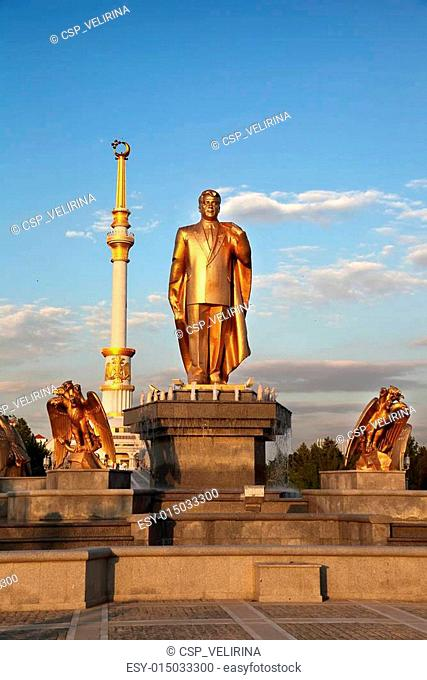 Monumen of Niyazov and Arch of Independence in sunset. Ashkhabad