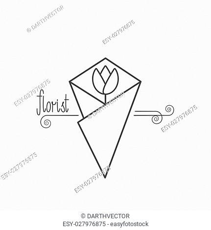 Flower shop logo vector. Florist. Hand drawn lettering