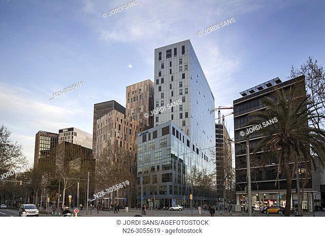 Avinguda Diagonal (avenue), Hotel Novotel, Mediapro, RBA, Barcelona, Catalonia, Spain