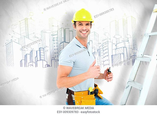 Composite image of technician with tools showing thumbs up by step ladder