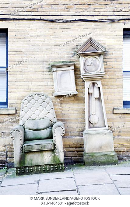 Grandads Clock and Chair Sculpture Bradford West Yorkshire England