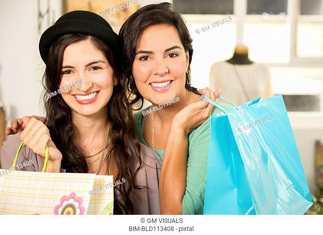 Hispanic women shopping together