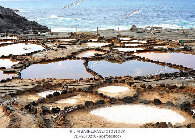 Saltmaking by hand in Banaderos (Gran Canaria), with salt bassins near de sea