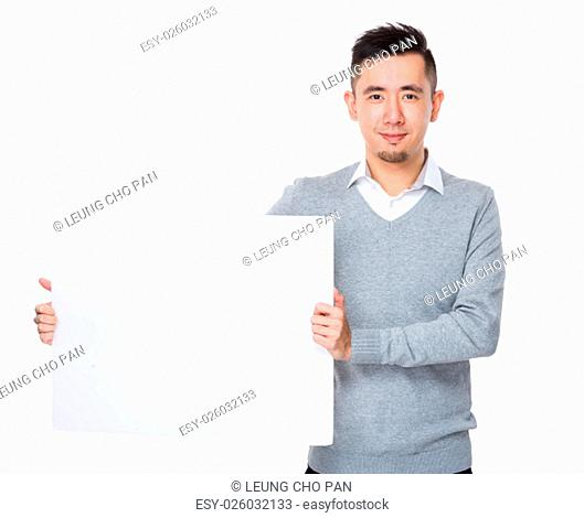 Young Businessman show with white banner