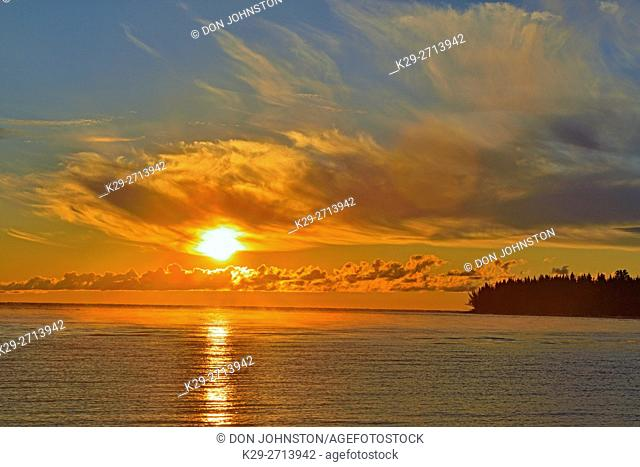 Sunrise over Great Slave Lake , Hay River, Northwest Territories, Canada