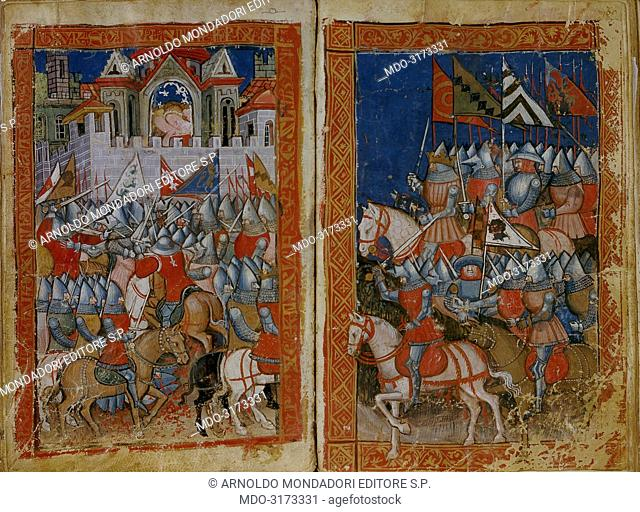 The Army Advance and the Battle beneath the Castle Wall, by unknown artist, c. 14th Century, miniature