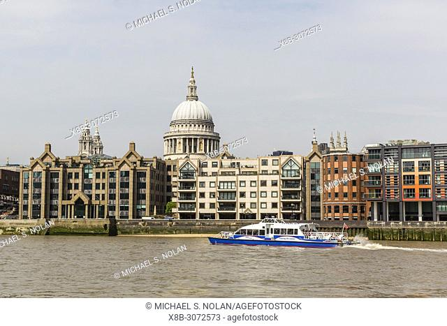 A view of the River Thames and Saint Paul's Cathedral, England