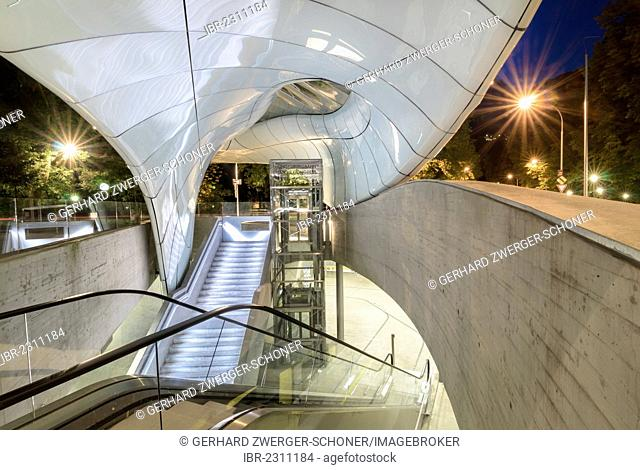 Hungerburgbahn, hybrid funicular railway, valley station at Congress, built by famous architect Zaha Hadid, Innsbruck, Tyrol, Austria, Europe