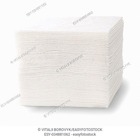 Stack Of Paper Napkins Isolated On White Background