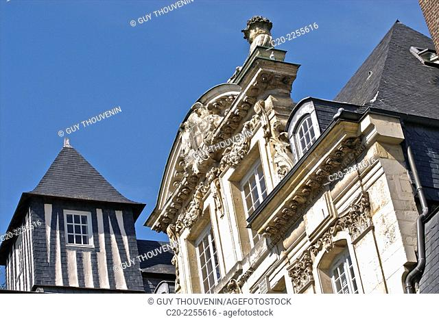 Mansion house, Hotel de Girancourt, with half timbered square tower, Rouen, Upper Normandy, 76, France