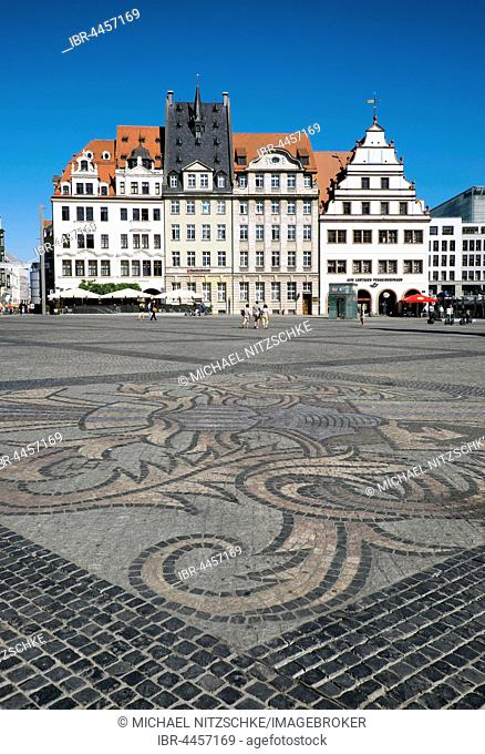 Cobblestone pavement with city arms, market, Leipzig, Saxony, Germany