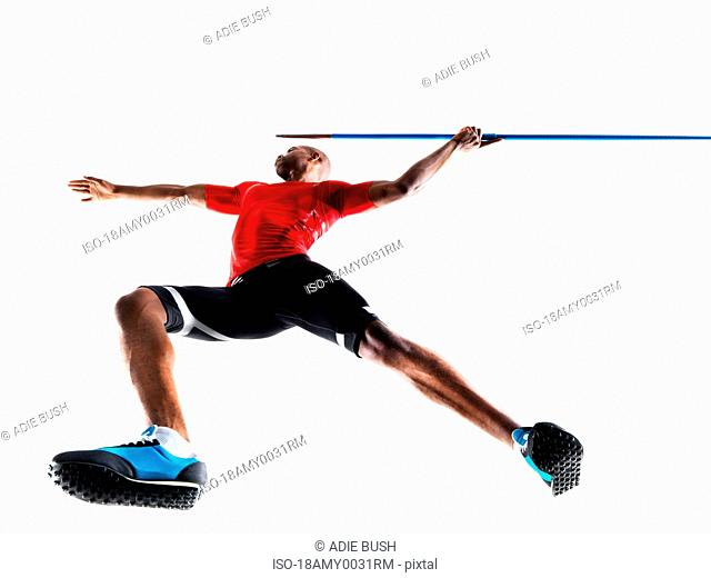 Male Athlete preparing to throw javelin
