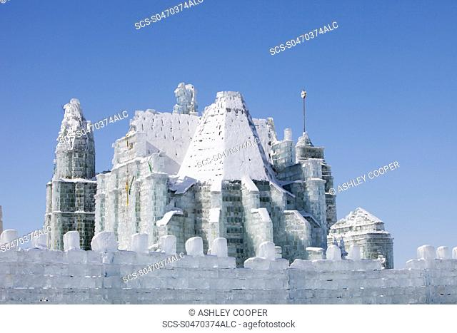 An ice palace built with blocks of ice from the Songhue river in Harbin, Heilongjiang Province, Northern China