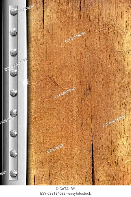 Wood and metal vintage background with bolts and reflections