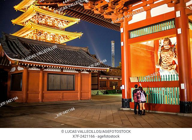 Students, Senso-ji Temple, Pagoda and Hozo-mon Gate,Asakusa,Tokyo, Japan