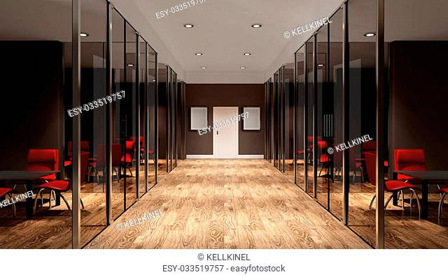 Meeting room. Interior of the modern office in the highlands. 3d rendering